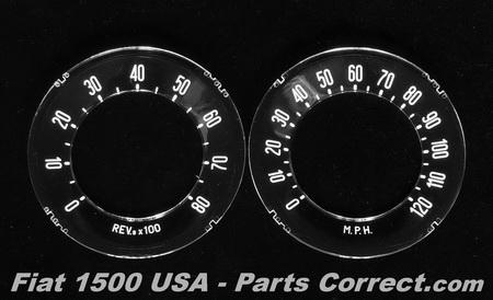 Fiat 1500 Coupe Cabriolet Spider Speedometer gauge face insert lens Spyder..
